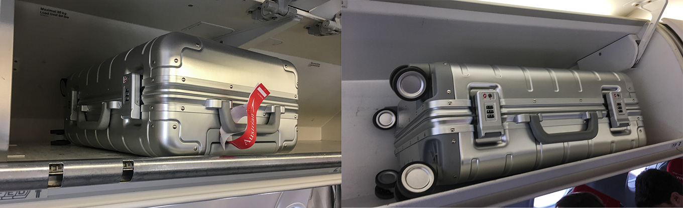 Xiaomi Suitcase in overhead bin: Airbus A320 alongside; Embraer 195 broadside