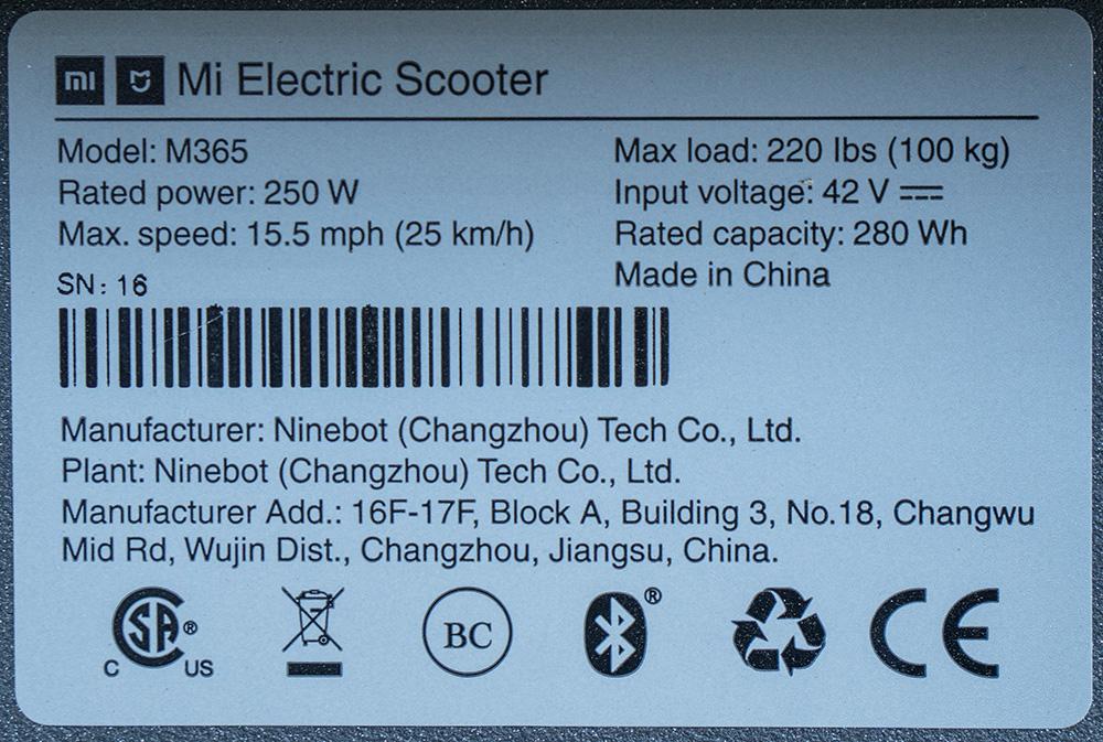Xiaomi M365 Typenschild