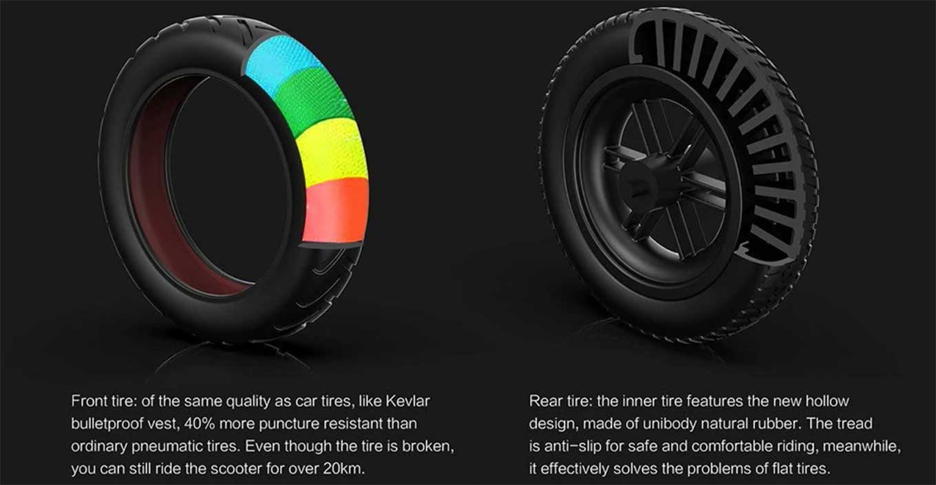 Alfawise M1 review - vacuum tires (front) and honeycomb tires (back)