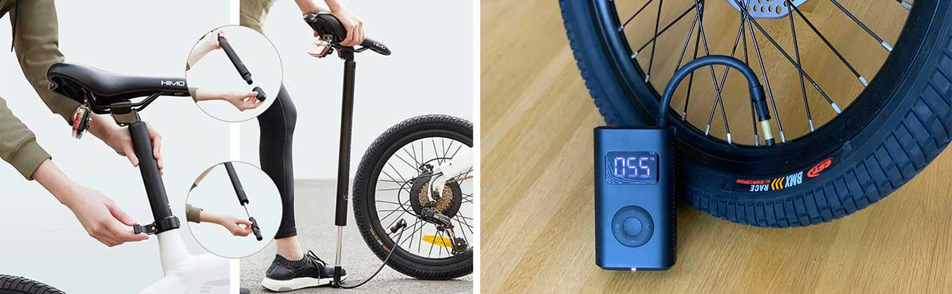 Xiaomi Himo C20 / Z20: integrated air pump within seat tube / Xiaomi electric air pump