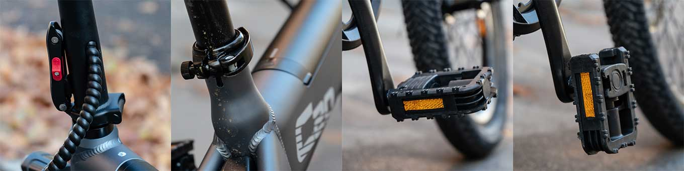 Xiaomi Himo C20: Handle Bar and Seat Tube Lock; folded/unfolded pedals