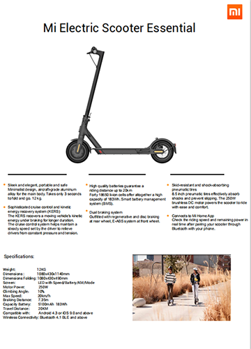 Xiaomi Scooter Lite (Mi Electric Scooter Essential) - Product Sheet